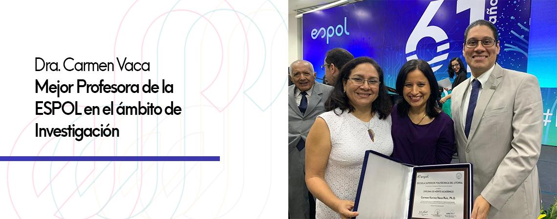 Dra. Carmen Vaca, Mejor Profesora de la ESPOL en el ámbito de Investigación